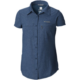 Columbia Irico Short Sleeve Shirt Women Petrol Blue Heather